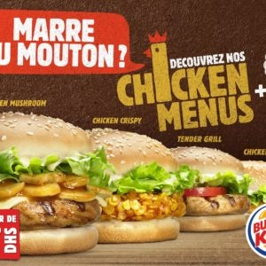 Des chicken menus de burger king + une glace offerte