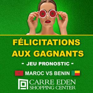 Félicitations aux gagnants du jeu Pronostic Maroc vs BENIN