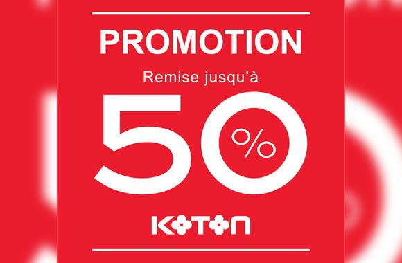 Nouvelle  promotion allant jusqu'à 50% chez Koton