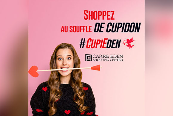 Cupidon pose son arc au Carré Eden Shopping Center