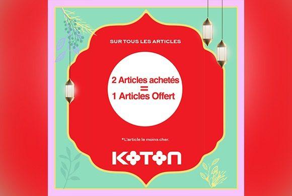 2 Articles achetés = 1 Article Offert chez Koton